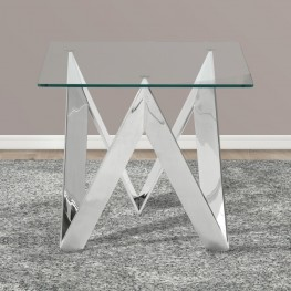 Scarlett Contemporary Square End Table in Polished Steel Finish with Tempered Glass Top