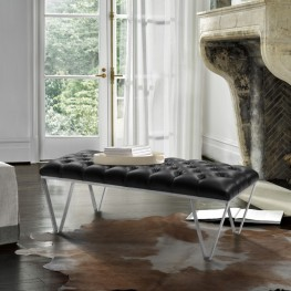 Serene Contemporary Tufted Bench in Brushed Stainless Steel with Black Faux Leather