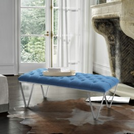 Serene Contemporary Tufted Bench in Brushed Stainless Steel with Blue Fabric