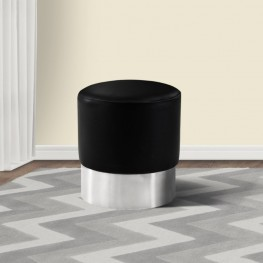 Tabitha Contemporary Round Ottoman in Brushed Stainless Steel with Black Faux Leather