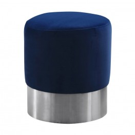 Tabitha Contemporary Round Ottoman in Brushed Stainless Steel with Blue Velvet