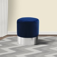 Armen Living Tabitha Contemporary Round Ottoman in Brushed Stainless Steel with Blue Velvet