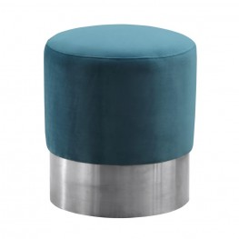 Tabitha Contemporary Round Ottoman in Brushed Stainless Steel with Green Velvet