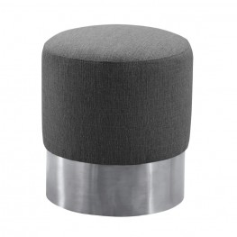 Tabitha Contemporary Round Ottoman in Brushed Stainless Steel with Grey Fabric