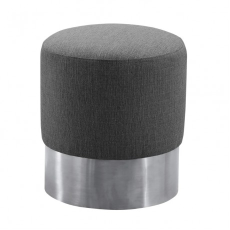 Armen Living Tabitha Contemporary Round Ottoman in Brushed Stainless Steel with Grey Fabric
