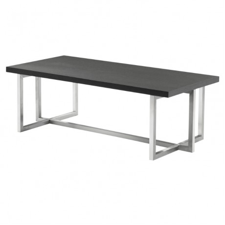 Armen Living Topaz Contemporary Rectangular Coffee Table in Brushed Stainless Steel with Grey Wood Top
