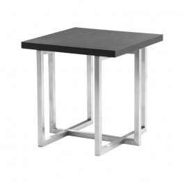 Topaz Contemporary End Table in Brushed Stainless Steel Finish with Grey Veneer Wood Top