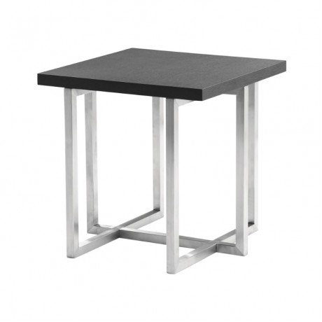 Armen Living Topaz Contemporary End Table in Brushed Stainless Steel Finish with Grey Veneer Wood Top