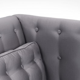 Noho Loveseat In Silver Satin Fabric