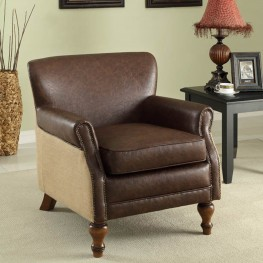 Antique Brown Club Chair with Natural Jute  and Accent Nails
