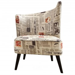 Elegant Accent Chair With Flared Back (Left Side) In Newspaper Fabric