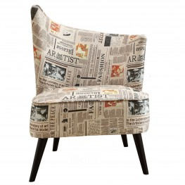 Elegant Accent Chair With Flared Back (Right Side) In Newspaper Fabric
