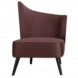 Elegant Accent Chair With Flared Back (Right Side) In Purple Microfiber
