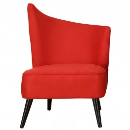 Elegant Accent Chair With Flared Back (Right Side) In Red Microfiber