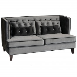 Moulin Loveseat In Gray Velvet With Black Piping