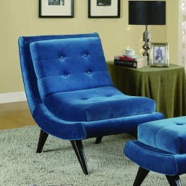 5th Avenue Velvet Armless Swayback Lounge Chair in Cerulean Blue