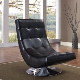 Armen Living Mario Swivel Chair Black Bonded Leather