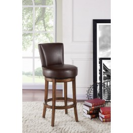 "Armen Living Boston 26"" Counter Height Swivel Wood Barstool in Chestnut Finish and Kahlua Pu"