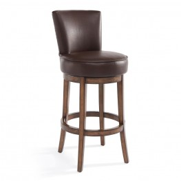 "Armen Living Boston 30"" Bar Height Swivel Wood Barstool in Chestnut Finish and Kahlua Pu"