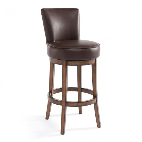 "Boston 30"" Bar Height Swivel Wood Barstool in Chestnut Finish and Kahlua Pu"
