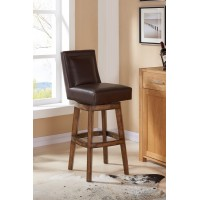 "Armen Living Wayne 30"" Bar Height Swivel Wood Barstool in Chestnut Finish and Kahlua Pu"