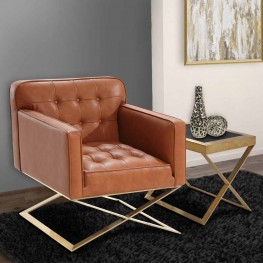 Chilton Modern Chair In Brown  and Gold Finish