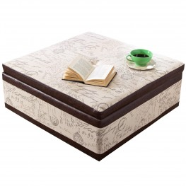 5026 Square Storage Ottoman With French Fabric Script, Bonded Leather