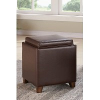 Armen Living Rainbow Contemporary Storage Ottoman with Tray in Kahlua Pu