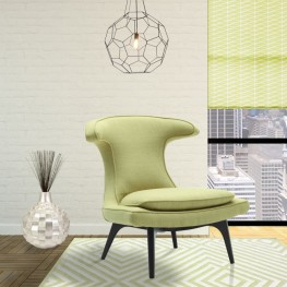 Armen Living Aria Chair in Black Wood finish with Green Fabric upholstery