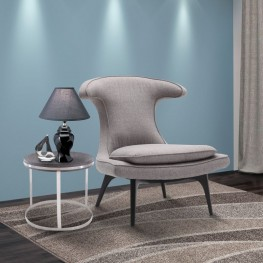 Armen Living Aria Chair in Black Wood finish with Gray Fabric upholstery