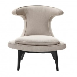 Aria Modern Chair In Taupe Fabric and Black Wood