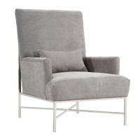 York Contemporary Accent Chair In Gray Chenille and Steel