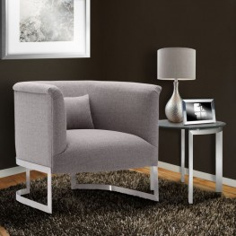 Elite Accent Chair in Brushed Steel finish with Gray Fabric upholstery