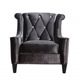 Barrister Chair In Black Velvet With Crystal Buttons