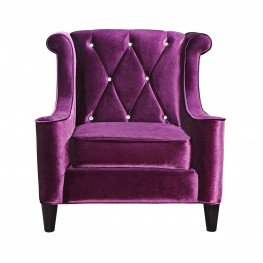 Barrister Chair In Purple Velvet With Crystal Buttons