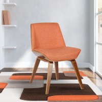 Armen Living Agi Mid-Century Dining Chair in Walnut Wood and Orange Fabric