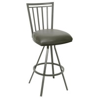"Aidan 26"" Transitional Barstool In Gray and Gray Metal"