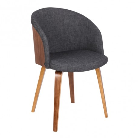 Alpine Mid-Century Dining Chair in Charcoal Fabric with Walnut Wood