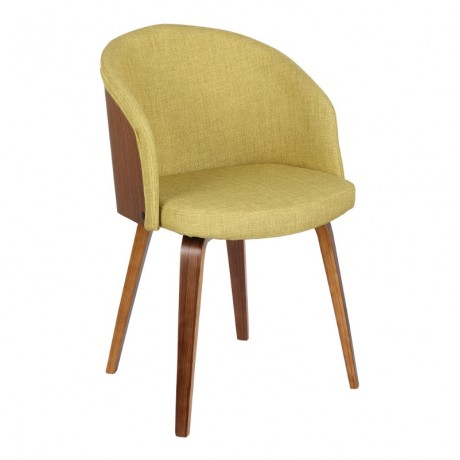 Alpine Mid-Century Dining Chair in Green Fabric with Walnut Wood
