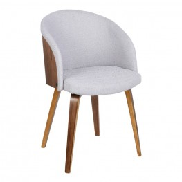 Armen Living Alpine Mid-Century Dining Chair in Gray Fabric with Walnut Wood