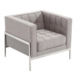 Andre Contemporary Chair In Gray Tweed and Stainless Steel