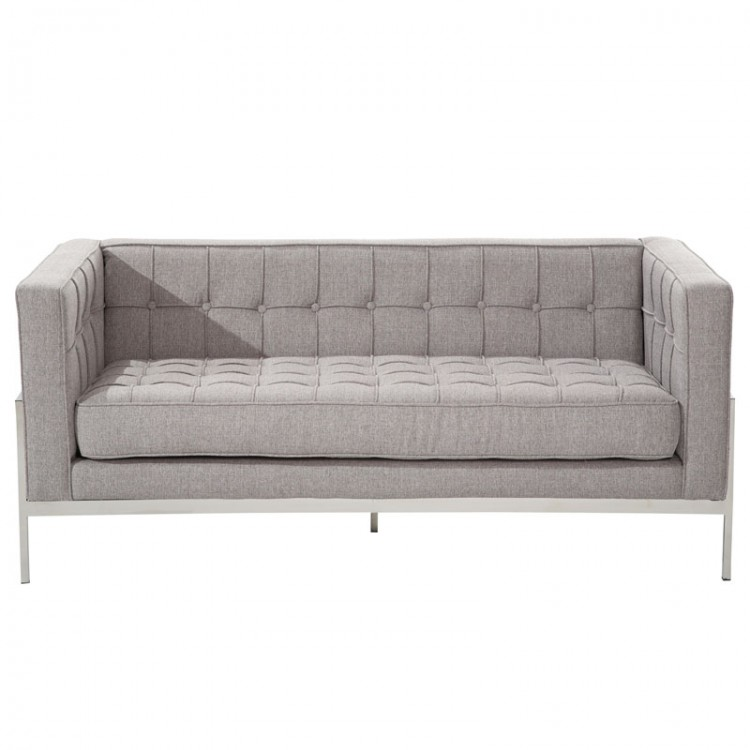 Andre contemporary loveseat in gray tweed and stainless steel for Gray tweed couch