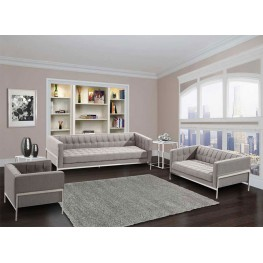 Andre Contemporary Sofa In Gray Tweed and Stainless Steel