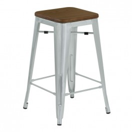 Armen Living Backless Angelo Industrial Barstool in Brushed Galvanized Steel Finish with Walnut Wood Seat