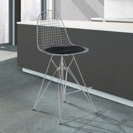 Armen Living Aquila Wire Barstool in Chrome with Black Faux Leather Seat Cushion