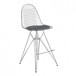 Armen Living Aquila Wire Barstool in Chrome with Gray Faux Leather Seat Cushion