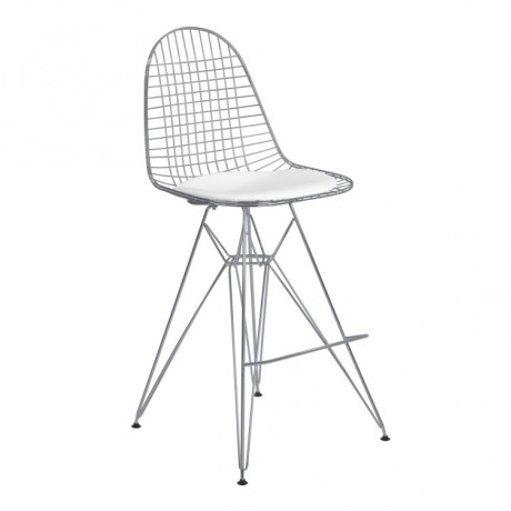 Armen Living Aquila Wire Barstool in Chrome with White Faux Leather Seat Cushion
