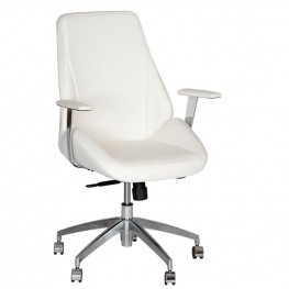 Argo Contemporary Office Chair In White and Chrome