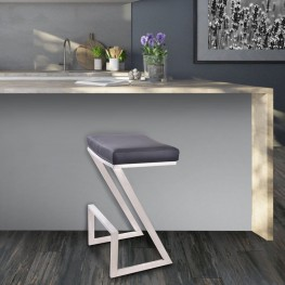 "Armen Living Atlantis 26"" Backless Barstool in Brushed Stainless Steel finish with Black Pu upholstery"
