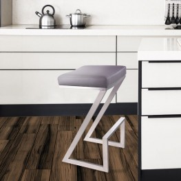 "Atlantis 26"" Backless Barstool in Brushed Stainless Steel finish with Gray Pu upholstery"